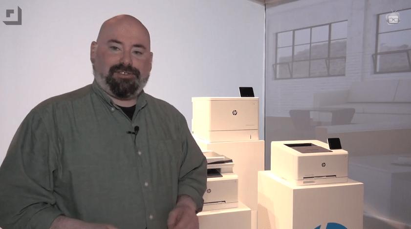 Jeffrey Powers with HP Laserjet printers